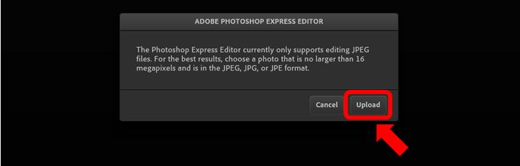 Photoshop Express Editor 「Upload」をクリック
